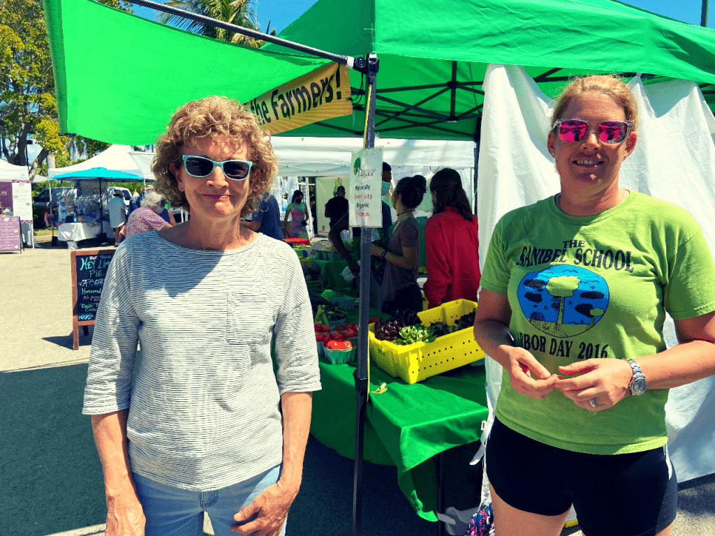 Ann Brady and Antje Baumgarten at the Captiva Farmers market